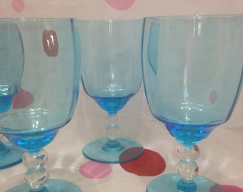 Candlewick Blue Wine Glasses, Set of Four