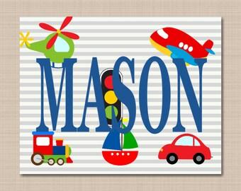 Transport Name Art,Kids Name Wall Art,Boy Baby Gift,Transportation Door Sign,Boy Name Wall Art,Transportation Wall Art-UNFRAMED PRINT C305