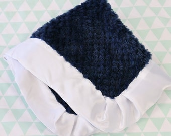 Navy with White Satin Trim Minky Baby Boy Lovie | Navy, Blue, White, Satin, Plush Minky Baby Boy Security Blanket