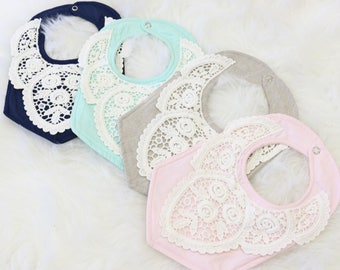 Beverly's Vintage Lace Baby Girl Bib  | Navy, Linen, Mint, Blush, Sweet, Pastel, Lace, Vintage Baby Girl Bib