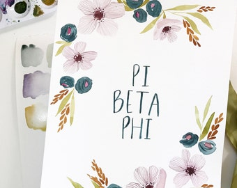 Custom, hand-painted Sorority Flowers watercolor