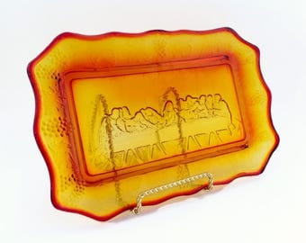 Vintage Last Supper Serving Plate Tray - Amberina Indiana Glass Mid Century Modern Plate