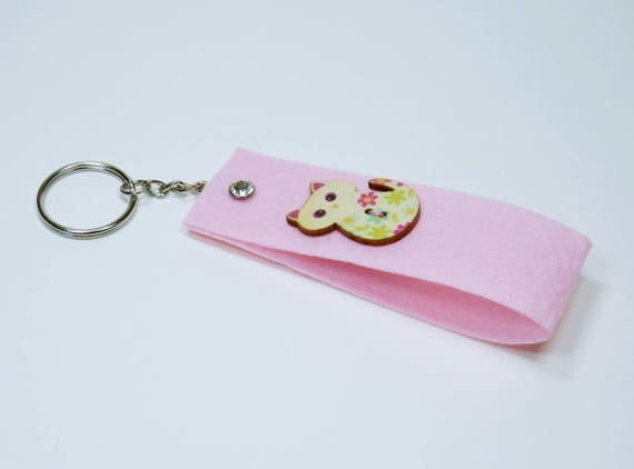 Keychain pink with cat and rhinestones stone bags pendant pendant keychain for keychain, cat flowers