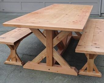 Farmhouse Trestle Table, Reclaimed Wood Dining Table, Wood Farmhouse Table, Rustic Dining Table