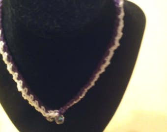 Purple and white double chained necklace