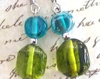 Teal and lime glass earrings