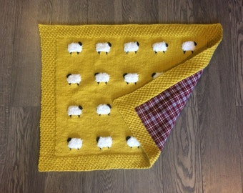 Reversible Sheep Baby Blanket, Handknit, Fuzzy Sheep, Flannel on Reverse