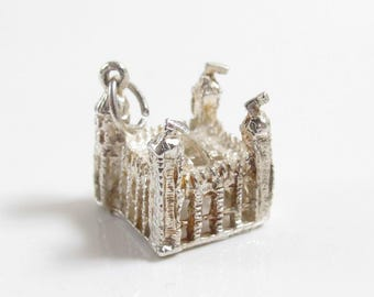 Vintage Castle With Towers Gift Charm Solid 925 Sterling Silver Charm Pendant