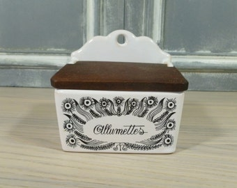 French Vintage Ceramic Match Box, Vintage Allumettes Box, Frenh Kitchen Decor