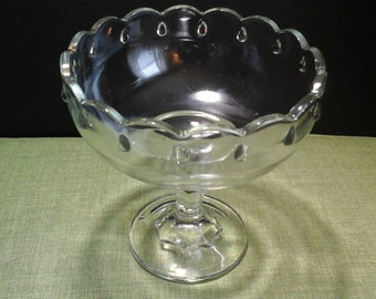 Large Teardrop Compote, Indiana Glass Clear Glass Compote