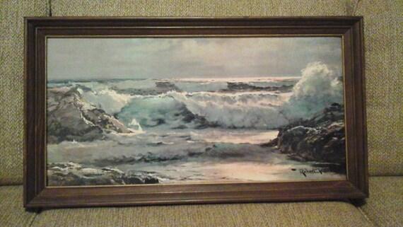 Robert Wood Seascape Surfside Print On Textured Board Framed