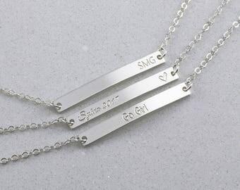 Delicate Silver Bar bracelet, Custom Name Bracelet, Bar Bracelet in Silver or Gold filled ( HCB 35.4 OD )