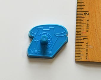 "Vintage WILTON MINI TELEPHONE Cookie Cutter | 1977 1.75"" x 1 3/8"" Blue Plastic Phone"