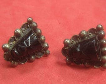 F-83  Vintage  Earrings 925 silver black onyx stone