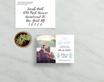 simple modern save the dates // blue watercolor foliage leaves // brush hand lettering calligraphy // PRINTED save the date magnets cards