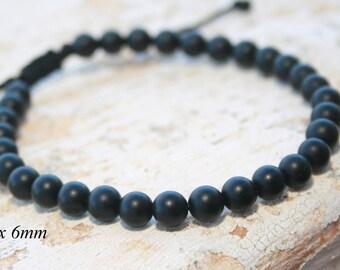 Man Bead Bracelet, Onyx Bracelet, Men Gift, Leo Zodiac stone , Men Healing Bracelet, black bead bracelet, Birthday, Unisex, Matte bead 6mm