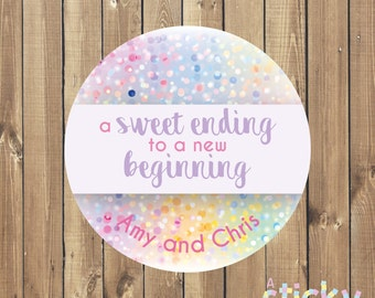 Personalized A Sweet Ending to a New Beginning Stickers, Wedding Candy Sticker, Love is Sweet Label, Wedding Favour Stickers, Wedding Sweets