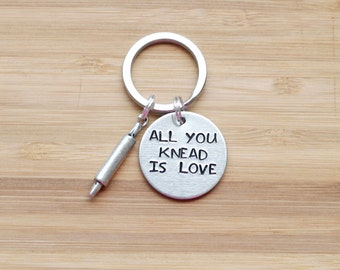 hand stamped keychain | all you knead is love