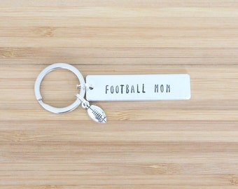 hand stamped keychain | football mom