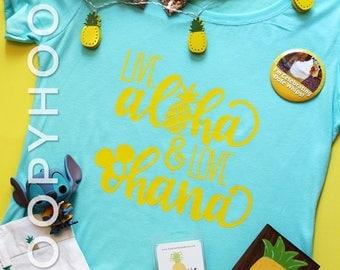 "Disney Shirt ""Live Aloha & Love Ohana"" in CANCUN Blue, for Aulani, Hawaii, Animal Kingdom, Pineapple Dole Whip"