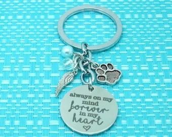Pet Memorial Keychain, Personalized Pet Name, Dog Memorial, Pet Remembrance, Angel Wings, Paw Print, RIP Dog, Rainbow Bridge, Pet Loss Gift