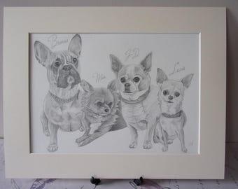 A3 Custom Pet Portrait, Custom Dog Portrait, Original Art, Made to Order, Dog Art, Pet Art, Gift Art, Custom Hand Drawn Dog Portrait Sketch