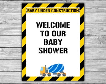 Construction - Baby Shower - Welcome - Sign - PRINTABLE - INSTANT DOWNLOAD - Baby Under Construction - 053