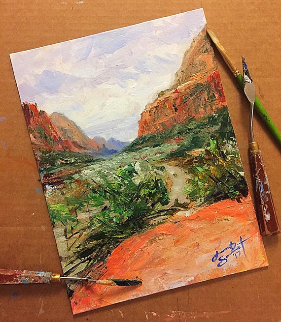 """Utah - """"Hike to Emerald Pools at Zion National Park"""" - 12""""x9"""" - Art Original Acrylic Painting - Acrylic & Brush on Board by Jacob Secrest"""