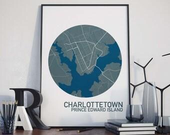 Charlottetown, Prince Edward Island City Map Print