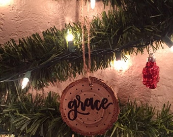 Grace, Wooden Ornament, Small