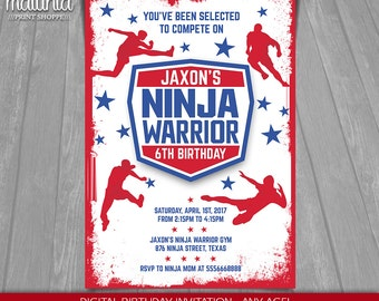 American Ninja Warrior Invitation - Ninja Warrior Invite - Ninja Birthday Invitation - American Ninja Warrior Birthday Party