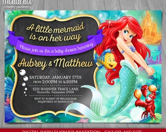 Little Mermaid Baby Shower Invitation - Disney Princess Ariel Invite - The Little Mermaid Baby Shower Invitation - Disney Princess Ariel