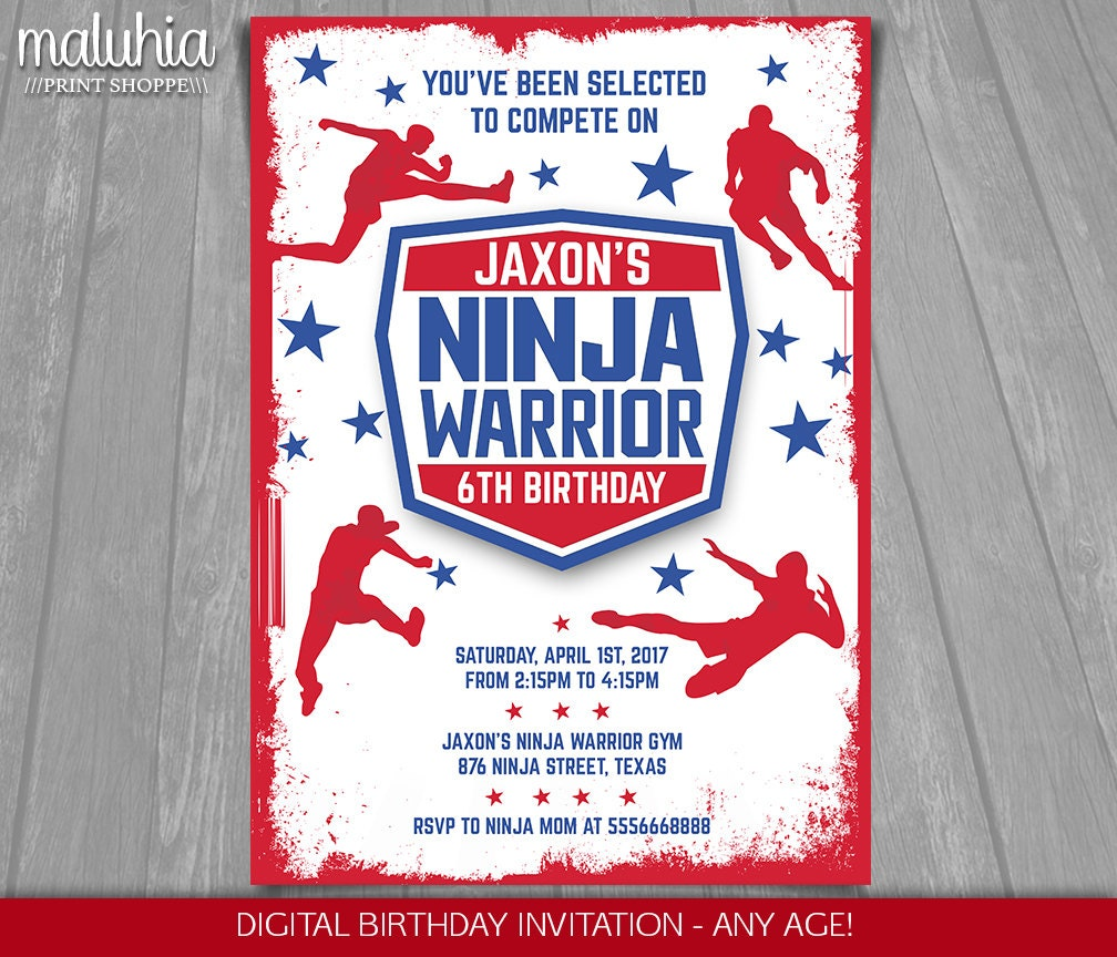 American Ninja Warrior Invitation Ninja Warrior Invite