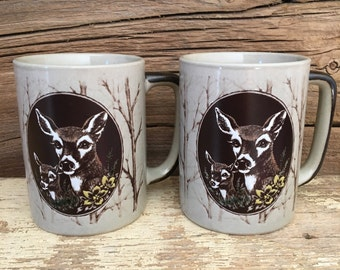 Sale--set of 2 Doe & Fawn woodland mugs