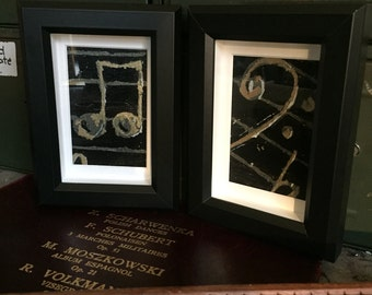 A pair of framed music inspired metallic paintings //  bass clef // Musical Framed painting // music and metallics art // original artwork /