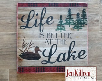 Life Is Better At The Lake / RED PLAID / Lake House Sign / Wood Sign