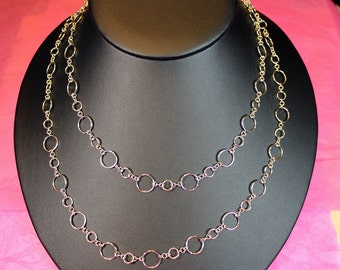"Entirely Handmade Sterling Silver 38"" Long Micro Maille Necklace"