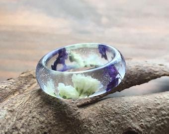 Resin rings, gypsophila flower ring, resin ring, real flower ring, gypsophila, botanical, flower ring, terrarium ring, pressed flowers