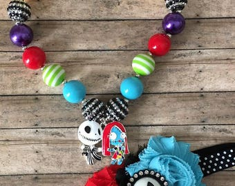 Jack and Sally Bubblegum Necklace and Headband set