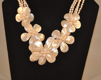 Multi Strand Mother of Pearl Flowers, Baroque and Freshwater Pearl Necklace