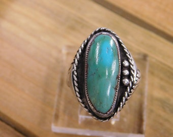 Heavy Sterling Silver Turquoise Ring size 11.5