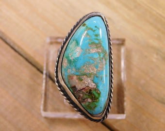 Sterling Silver Ring with Large Turquoise Stone