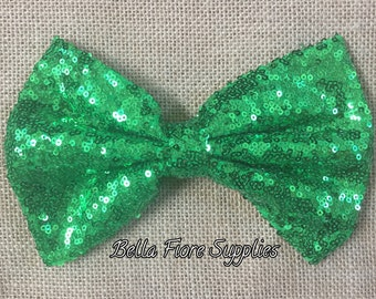 Green Sequin Bow- 7 Inch- Extra Large Sequin Bow- Christmas Sequin Bow