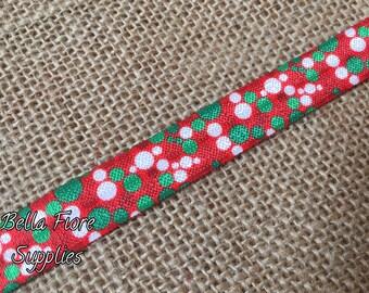 Christmas Polka Dot Fold Over Elastic- Red Green White Polka Dot fold over elastic- Polka Dot FOE- Wholesale- DIY Headband-