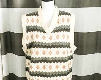 Vintage sweater vest - Men's 80s sweater vest - Wool sweater vest - Cream print sweater vest - V neck sweater - Striped knit est