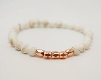 Rose gold bracelet, Pink gold bracelet, rose gold jewelry, Howlite stone bracelet, skinny bracelet, stacking bracelet, gifts under 20