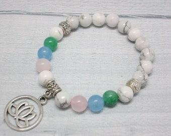 Mala bracelet Meditation bracelet Minimalist bracelet Healing jewelry Lotus jewelry Meditation jewelry Spiritual beads Stone bracelet women