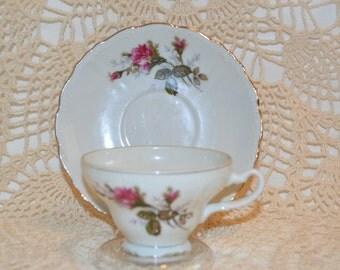 Japan Porcelain Bone China Floral Cup and Saucer - Vintage Item #4102