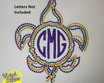 Mardi Gras Bead Fleur de Lis Circle Monogram Frame Embroidery Design Files, 2 sizes