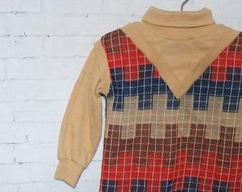 Vintage Boys Clothes, Vintage Boys Vest with Turtle Neck Argyle Retro Boys 1980s Size 2T, Vintage Kids Clothes